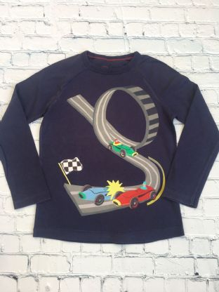 Mini Boden navy blue long sleeve top with racing car design age 6-7